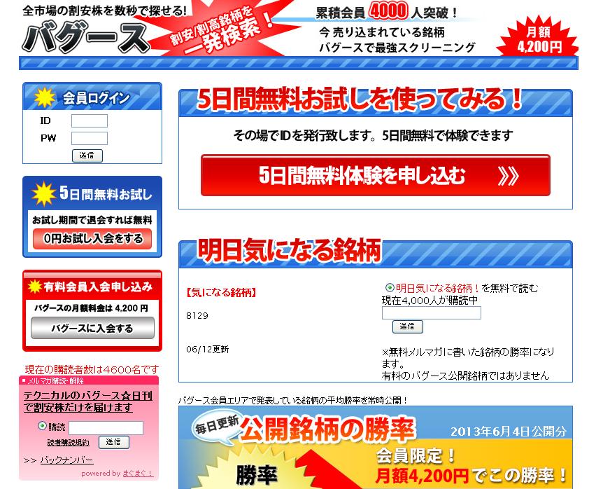 株式情報サイト バグースのサイトキャプチャー画像